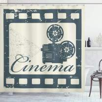 """Ambesonne Movie Theater Shower Curtain, Grunge Poster Design with Strip Frame Cinema Lettering and Projection, Cloth Fabric Bathroom Decor Set with Hooks, 84"""" Long Extra, Slate Blue"""