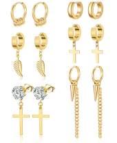 Ofeiyaa 6 Pairs Stainless Steel Cross Dangle Hinged Hoop Earrings Huggie Cuff Earrings Piercing CZ Stud for Men Women Silver Gold Tone