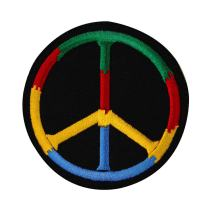 Multi Color Peace Sign Patch Hippie Groovy Love Embroidered Iron On Applique