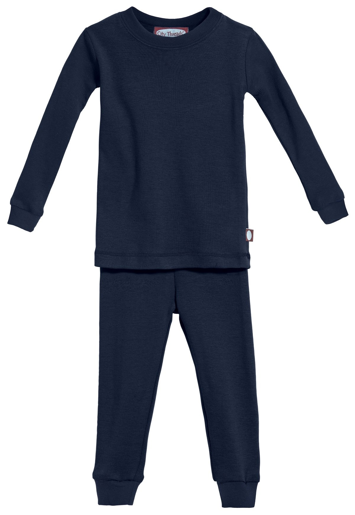 City Threads Certified Organic Thermal Pajama Set, Little Boys and Girls for Sensitive Skin/SPD/Sensory Friendly, Navy, 4