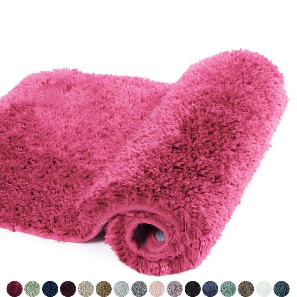 Walensee Bathroom Rug Non Slip Bath Mat for Bathroom Water Absorbent Soft Microfiber Shaggy Bathroom Mat Machine Washable Bath Rug for Bathroom Thick Plush Rugs for Shower (16 x 24, Hot Pink)