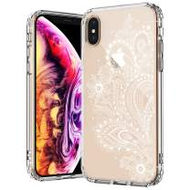 MOSNOVO White Floral Henna Paisley Flower Pattern Designed for iPhone Xs Case/Designed for iPhone X Case - Clear
