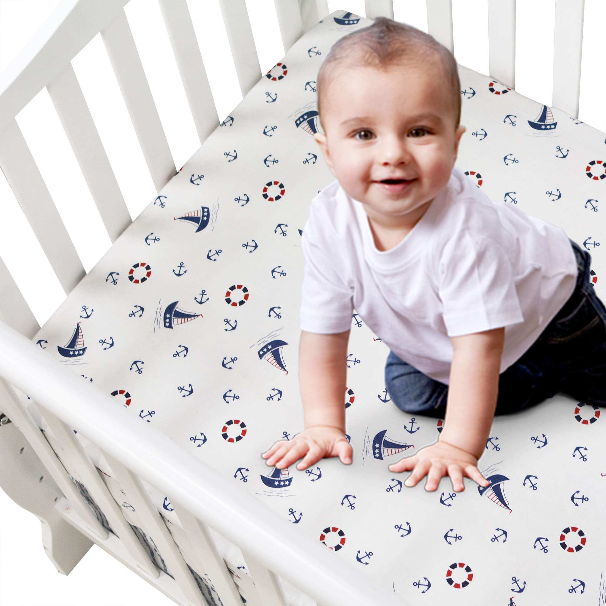 Brandream Nautical Crib Sheets Boy Navy Blue Fiited Crib Sheet Baby Toddler Sheets Cotton 100% Hypoallergenic Cotton Anchor Printed