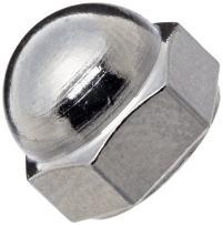 "Chrome-Plated Brass Acorn Nut, USA Made, 5/16""-24 Thread Size, 9/16"" Width Across Flats, 7/16"" Height, 9/32"" Minimum Thread Depth (Pack of 10)"