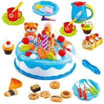 HenMerry 80Pcs DIY Birthday Cake Play Toy Candle Light Party Cutting Pretend Play Food Toy Set Girls Boys Gift for Children (Blue)