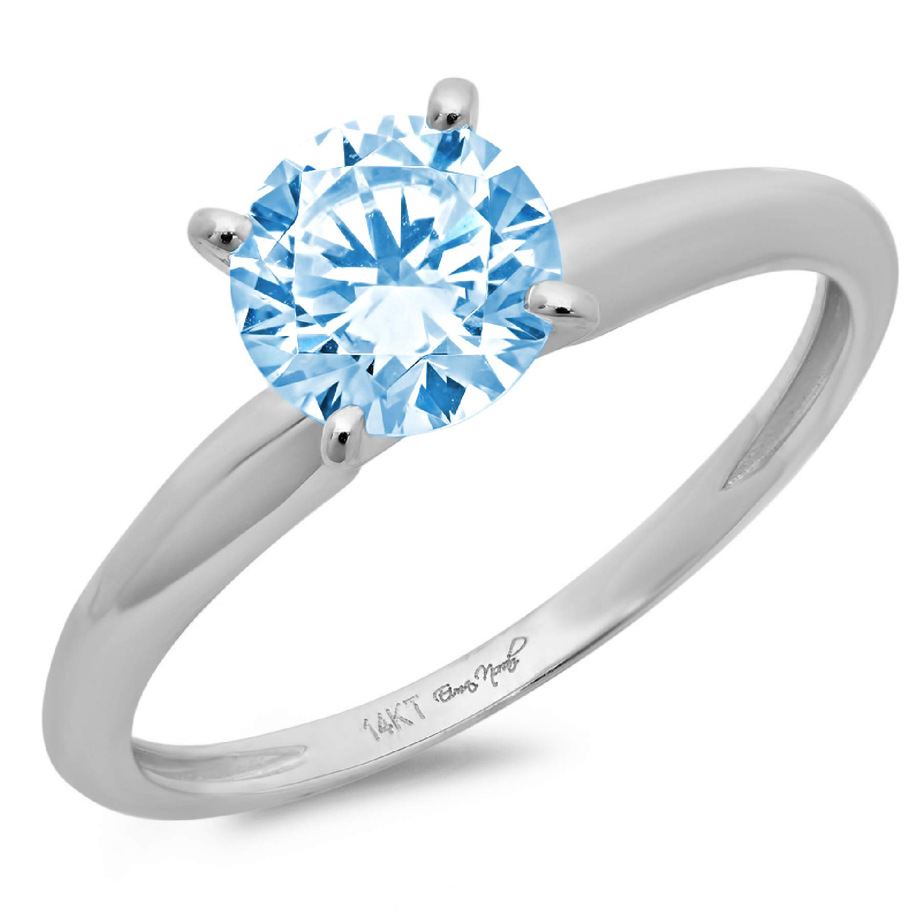 1.95ct Brilliant Round Cut Solitaire Aquamarine Blue Simulated Diamond CZ Ideal VVS1 D 4-Prong Classic Designer Statement Ring in Solid Real 14k White Gold for Women