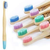 Bestylez 8 Pack Kids Bamboo Toothbrushes, Extra Soft Color Spiral Bristle, Wooden Charcoal Toothbrush, Biodegradable Natural Organic & Vegan Tooth Brush