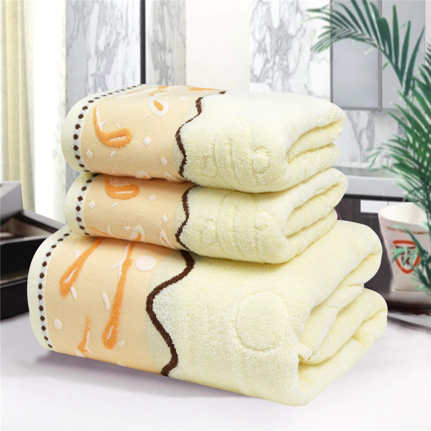 USTIDE Luxury Emboridery Towels Fish Bath Towels Colorful Hand Towels Cotton Face Towels 3 Pieces (Yellow3)