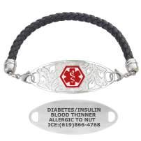 Divoti Custom Engraved Medical Alert Bracelets for Women, Stainless Steel Medical Bracelet, Medical ID Bracelet w/Free Engraving – Lovely Filigree Tag w/Black Braided Leather – Color/Size