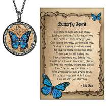 """Lola Bella Gifts and Spirit Lala Blue Monarch Butterfly Grief Sympathy Gift Reversible Necklace with""""Our Love Never Dies"""" and Butterfly Spirit Poem Card, Gift Box"""