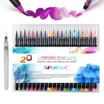 Watercolor Brush Markers Pen, SAYEEC 20 Colors Water Based Drawing Marker Brushes and Water Coloring Brush, Water Colored Ink with Soft Flexible Tip for Adult Coloring Books, Manga, Comic, Calligraphy