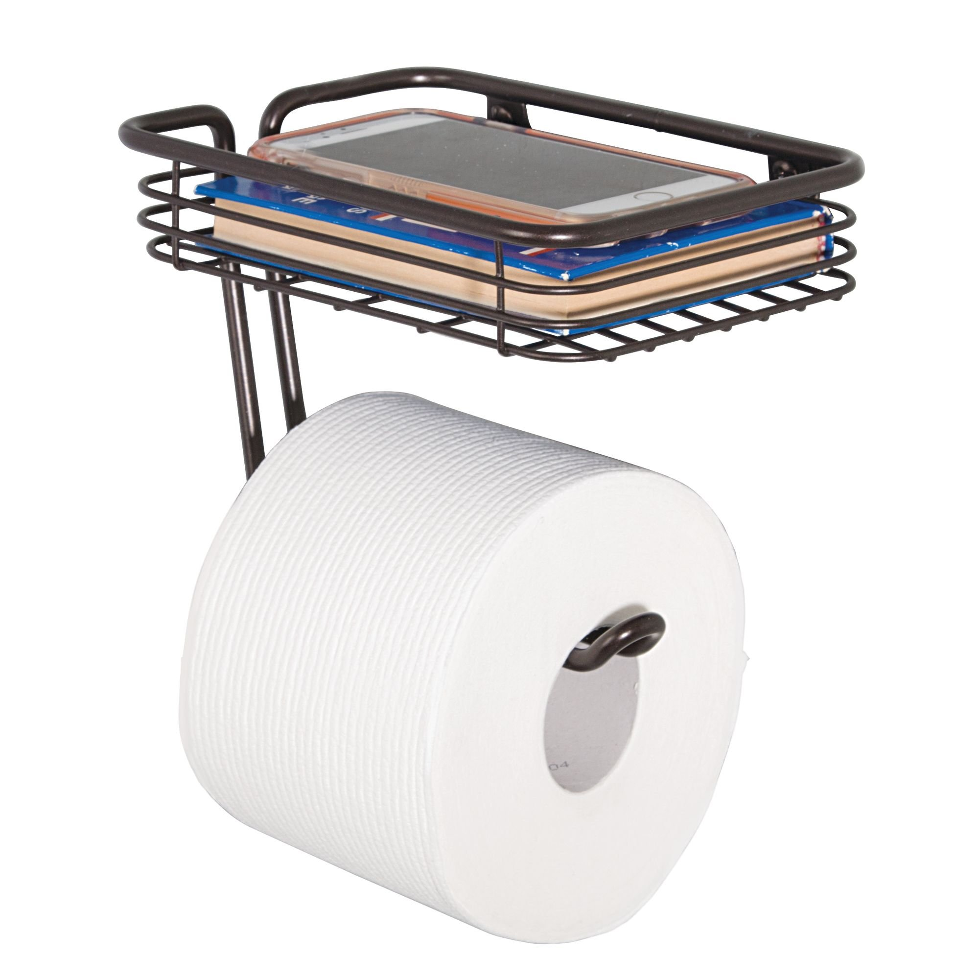 """iDesign Classico Metal Wall Mount Toilet Paper Tissue Holder, Roll Reserve with Shelf for Kids', Guest, Master, Office Bathroom, 7.25"""" x 5.25"""" x 5.25"""", Bronze"""