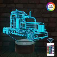 FULLOSUN Night Lights for Kids Big Truck 3D Night Light Bedside Lamp Car 16 Colors Changing with Remote Control Best Birthday Gifts for Boy Baby