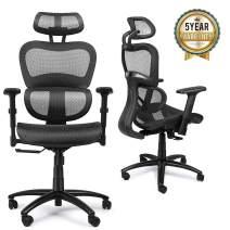 Mysuntown Mid-Back Office Chair, Mesh Task Chair, Executive Swivel Chair Adjustable Height (88C) (Black)