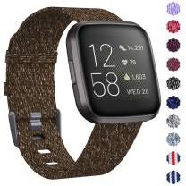 KIMILAR Woven Band Compatible with Fitbit Versa/Fitbit Versa 2/Fitbit Versa Lite Edition, Large Small Woven Fabric Breathable Men Women Versa Replacement Band for Versa Smartwatch