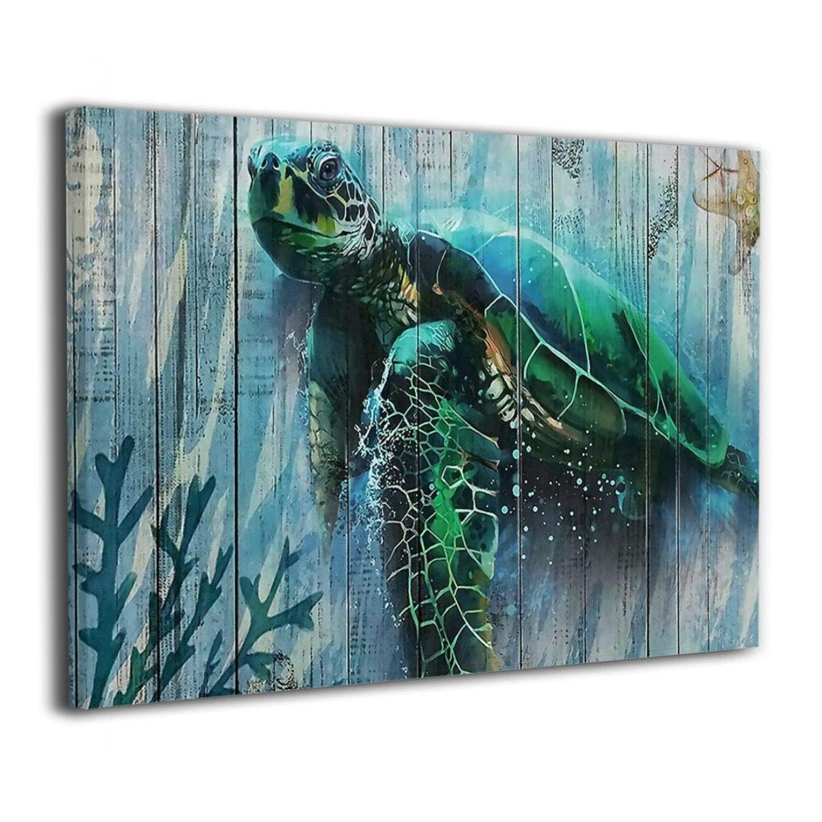 Bold And Brash Sea Turtle Canvas Wall Art Print Inner Framed Painting Pictures Home Decor Modern Decorations for Living Room Bedroom Bathroom 12x16 Inch