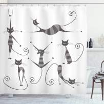 """Ambesonne Cat Shower Curtain, Furry Skinny Striped Cats in Several Funny Body Postures Whiskers Feline Paws Art Image, Cloth Fabric Bathroom Decor Set with Hooks, 84"""" Long Extra, Dimgray"""