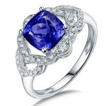 Lanmi 14K Solid White Gold Genuine AAA Tanzanite Engagement Diamonds Ring Wedding Band for Women