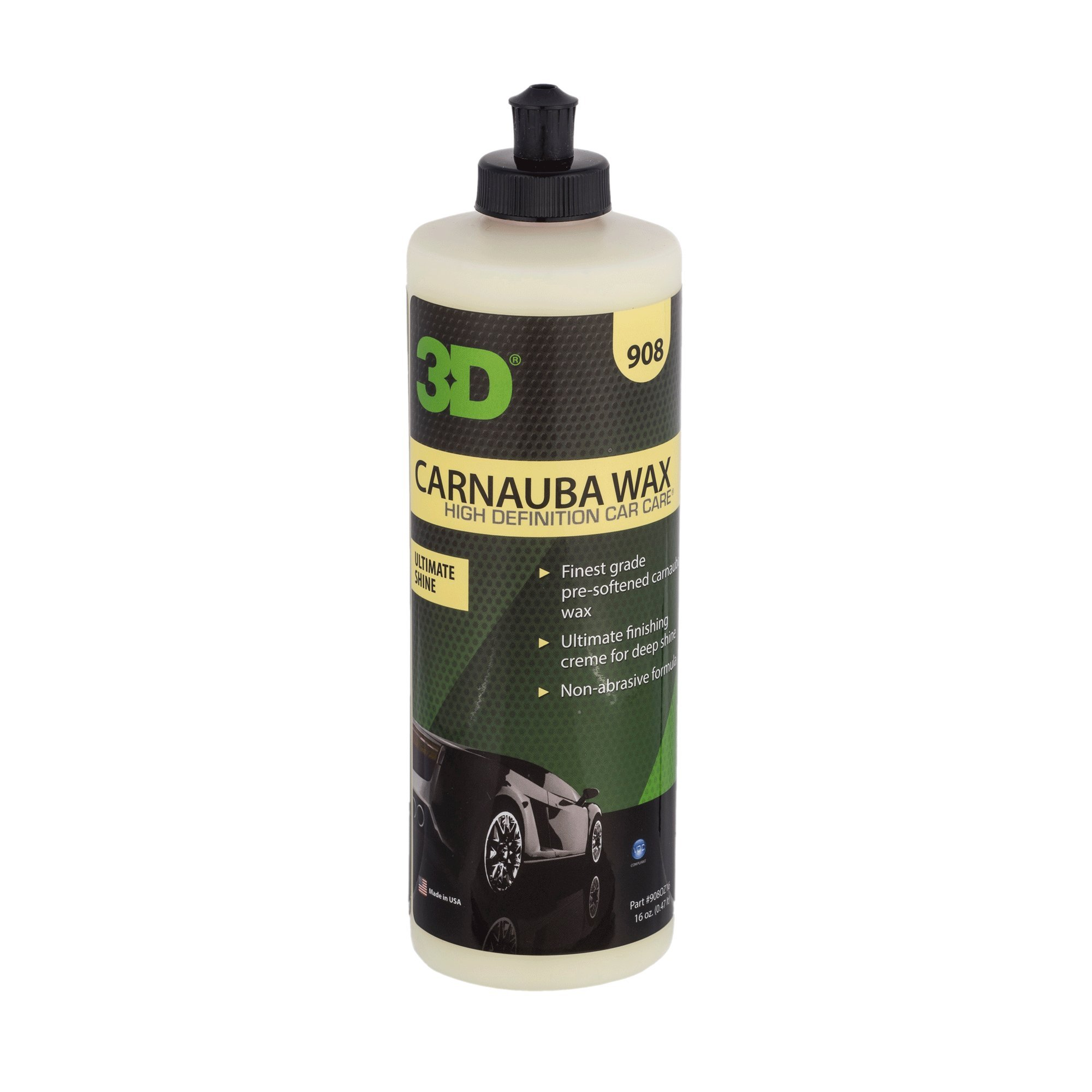 3D Carnauba Wax | Ultimate Protection & Deep Shine | Easy to Apply | Safe for Clear Coat & Conventional Paint Surfaces | Made in USA | All Natural | No Harmful Chemicals (16oz.)