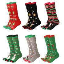 Ayliss 4/6/8 Pair Womens Five Toes Christmas Socks Winter Warm Stretchy Crew Socks