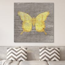 wall26 - Square Canvas Wall Art - Yellow Butterfly Wood Effect Canvas - Giclee Print Gallery Wrap Modern Home Decor Ready to Hang - 12x12 inches