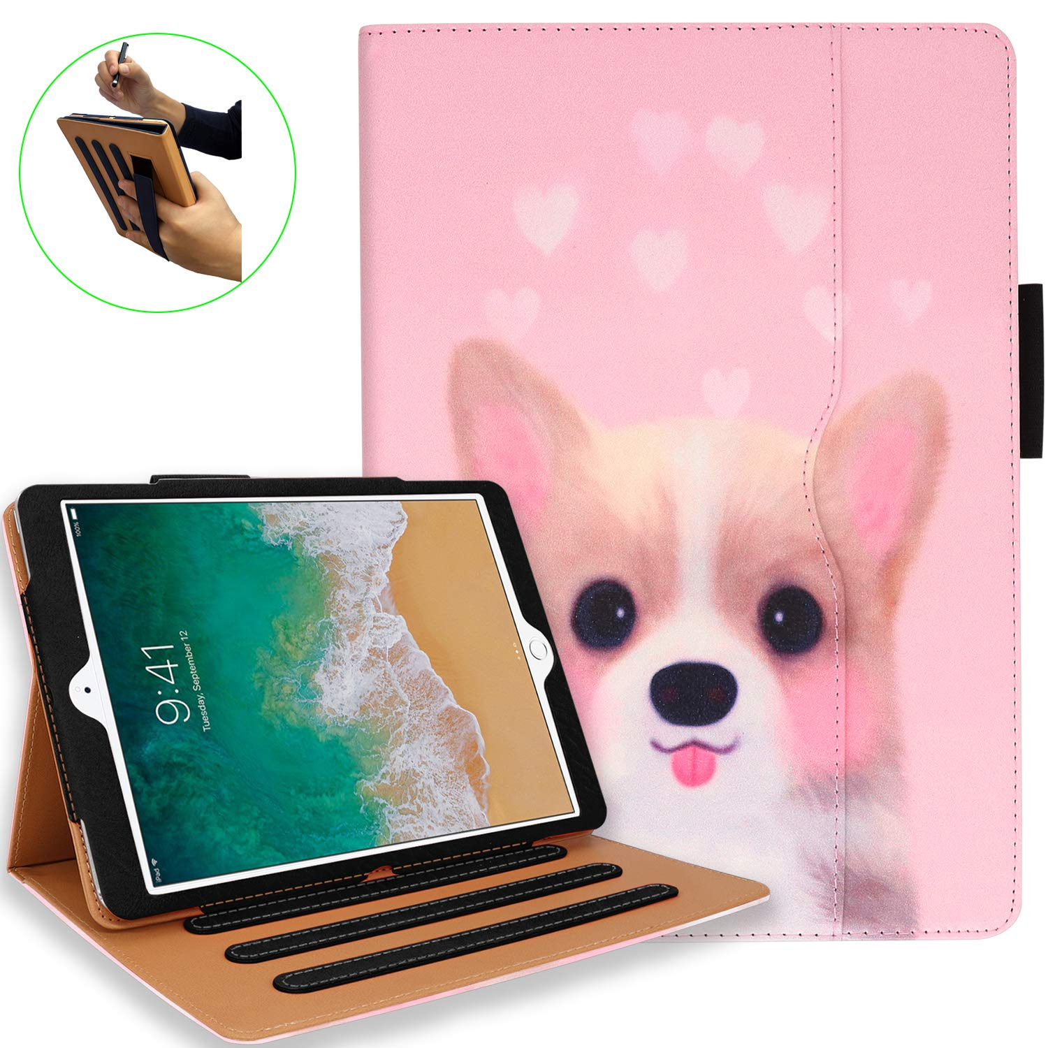 iPad 7th Generation Case, iPad 10.2 Case with Pencil Holder - Multi-Angle Stand, Hand Strap, Auto Sleep/Wake for iPad 7th Generation, iPad 10.2 Case(Lovely Dog)