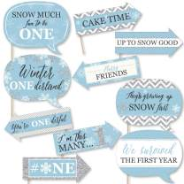 Big Dot of Happiness Funny Onederland - Holiday Snowflake Winter Wonderland Birthday Party Photo Booth Props Kit - 10 Piece