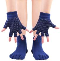 ANCHOVY Yoga Gloves And Yoga Socks With Grips For Pilates Ballet Dance Socks 5-10, WZ11