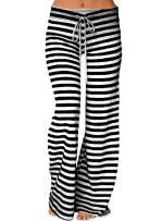 LOSRLY Women Plus Size Striped Wide Leg Drawstring High Waist Palazzo Yoga Pants