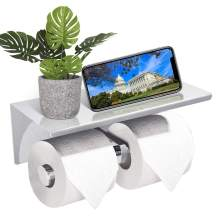 GEMITTO Toilet Paper Holder, SUS304 Stainless Steel Double Toilet Rolls Bathroom Tissue Holder, with Cell Phone Tray, Easy to Install, Wall Mounted, Perfect for Home or Commercial Setting (Silver)