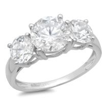 Clara Pucci 3.25CT Round Cut Simulated Diamond CZ Solitaire 3-Stone Engagement Wedding Band Ring 14K White Gold