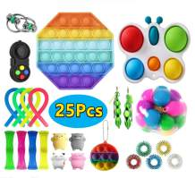 Canrulo 25Pcs Fidget Toys Pack, Sensory Fidget Toys Cheap Fidget Toy Set Stress Relief Fidget Hand Toys for Gifts Kids and Adults (F Style)