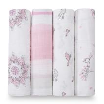 aden + anais Swaddle Blanket | Boutique Muslin Blankets for Girls & Boys | Baby Receiving Swaddles | Ideal Newborn & Infant Swaddling Set | Perfect Shower Gifts, 4 Pack, For the Birds