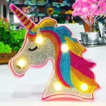 Diamond Painting Unicorn with LED Lights DIY Special Shaped Full Drill Crystal Diamond Drawing Bedside Lamp for Home Decoration or Christmas Gifts (Unicorn A)