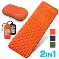 Gonex Air Sleeping Pad, Lightweight 13.7 OZ Camping Air Mattress Pad with Inflatable Travel Pillow, Waterproof, Inflatable & Compact Camping Mat for Backpacking, Hiking & Outdoor Activities