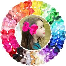 "JOYOYO 40PCS/Colors 4.5"" Baby Girls Hair Bows Alligator Clips Grosgrain Ribbon Big Bows Clips For Girls Toddlers Kids Teens Children"