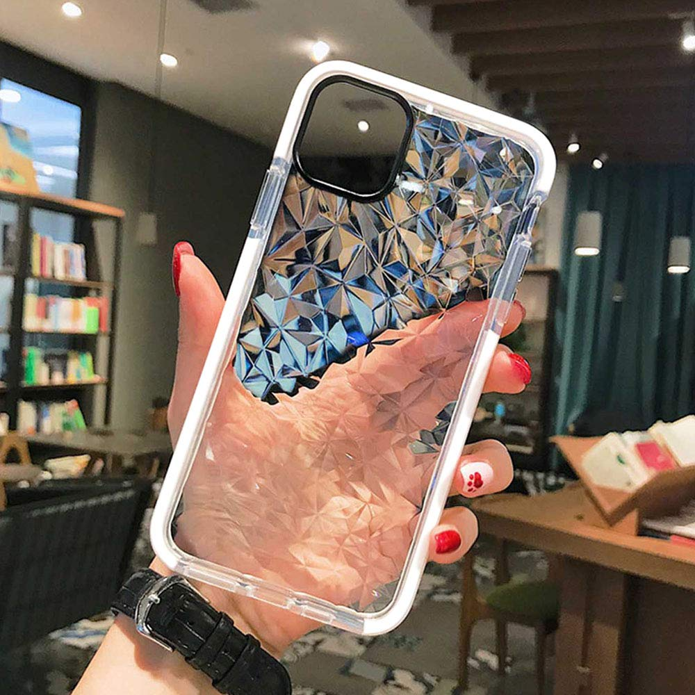 Superyong for iPhone 11 Case,Crystal Clear Slim Diamond Pattern Soft TPU Anti-Scratch Shockproof Protective Cover for Women Girls Men Boys with iPhone 11 6.1 Inch-White