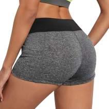 B.BANG Women's Elastic Waist Yoga Shorts with Side Pockets Workout Running Short Pants for Women
