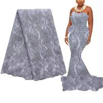 WorthSJLH Nigerian Lace Material Fabric Grey Net Lace Fabric 2019 New Latest African Lace Fabric for Wedding Dress LF854(Grey)