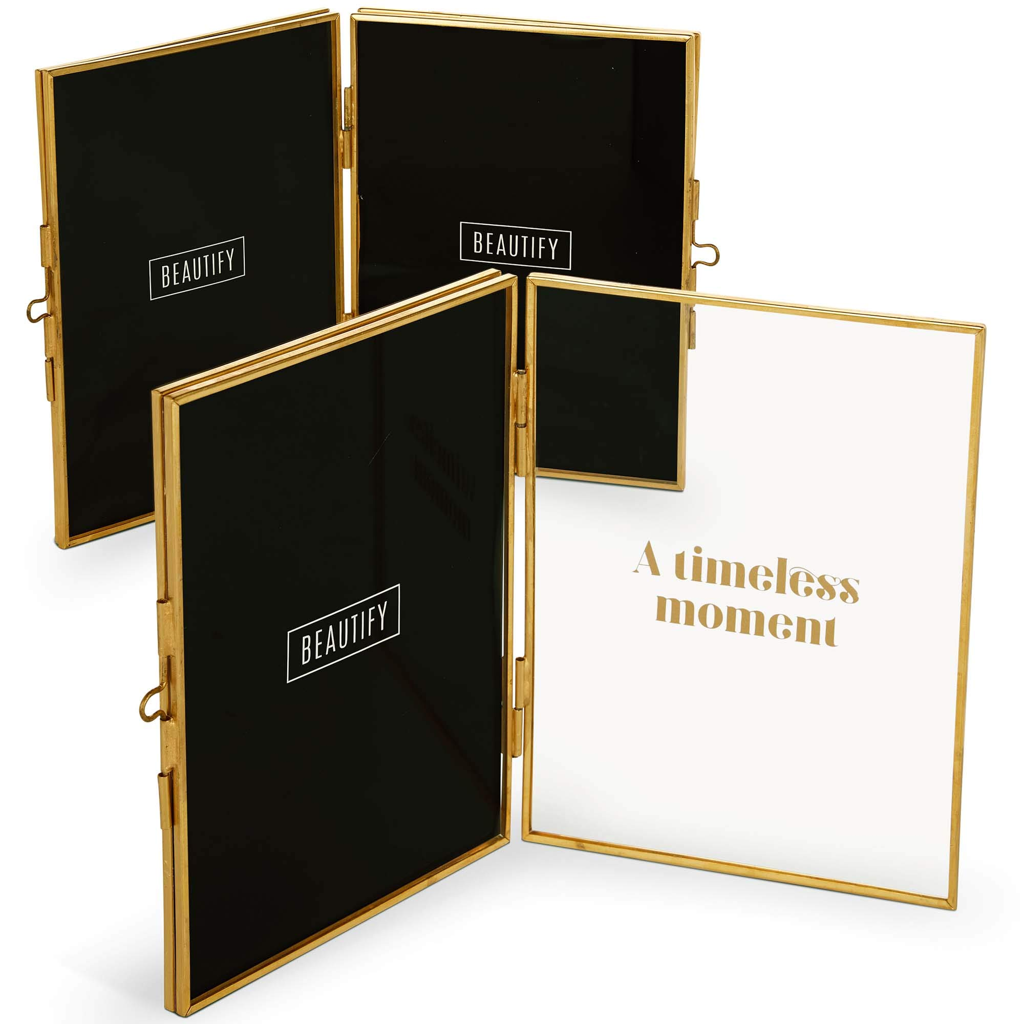 """Beautify Double Folding Picture Frame with Gold Brass Metal Frame 5 X 7"""" Real Glass and Quote Set of 2 Photo Display Stand on Table - Ideal as Personalized Gift for Friends and Family"""