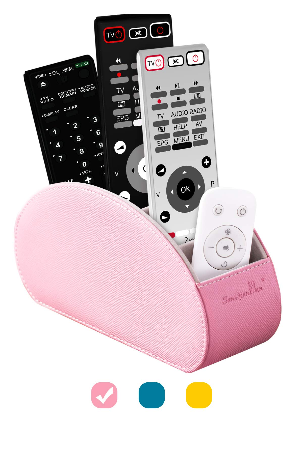 Remote Control Holders Organizer Box, Makeup Brush Holder with Pink PU, Office Organization and Storage Caddy Store Tv Remote Holders,Brush,Pencil,Glasses and Media Player (Pink)