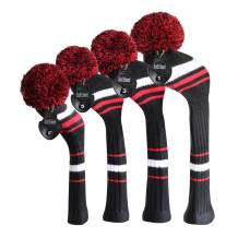Scott Edward Knit Golf Head Covers 4 Pieces Pack Fit Over Well Driver Wood(460cc) Fairway Wood2 and Hybrid(UT) with Rotating Number Tags