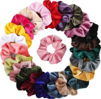 Mandydov 24 Pcs Hair Scrunchies Korean Velvet Elastic Hair Bands Scrunchy Hair Ties Ropes Scrunchie for Women or Girls Hair Accessories, 24 Assorted Colors Scrunchies