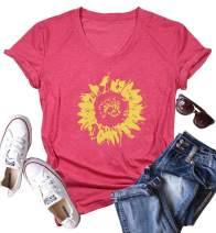 Sunflower Print T-Shirt Women Sunshine Graphic Shirts Top Casual Summer Short Sleeve V Neck Tee Top