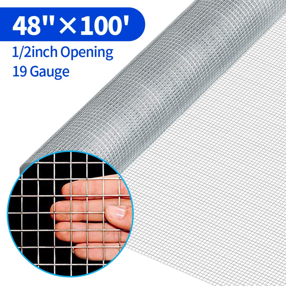 Amagabeli 48x100 1/2Inch Hardware Cloth Galvanized Welded Cage Wire 19 Gauge Fence Mesh Roll Garden Plant Supports Poultry Netting Square Chicken Snake Fencing Gopher Fence Racoons Rabbit Pen Gutter