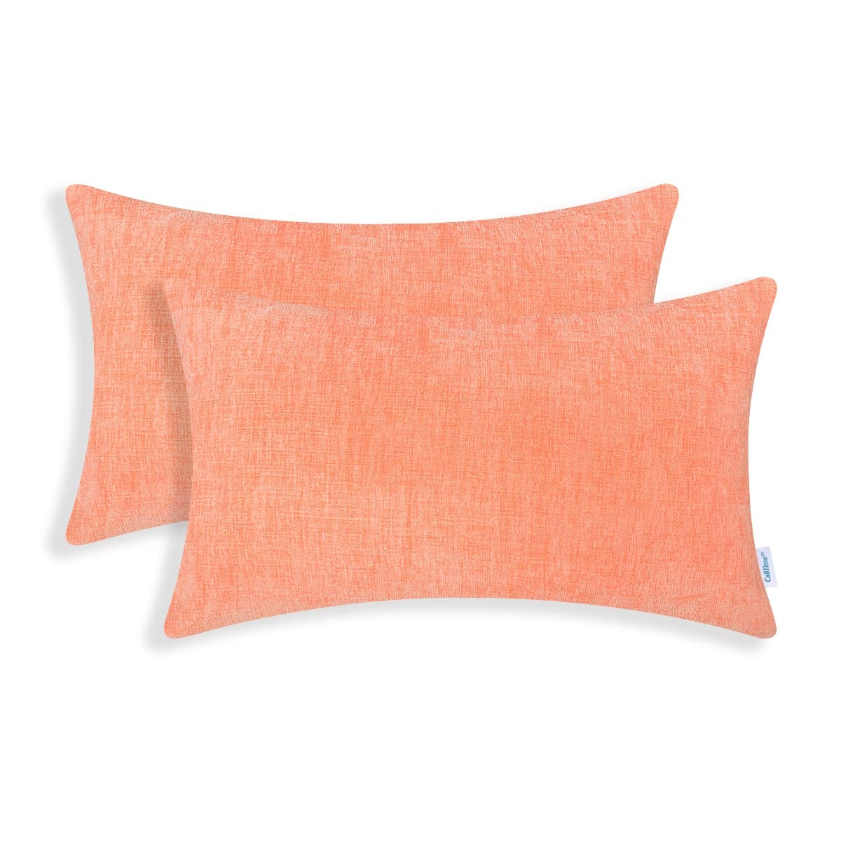 CaliTime Pack of 2 Cozy Bolster Pillow Covers Cases for Couch Sofa Home Decoration Solid Dyed Soft Chenille 12 X 20 Inches Cantaloupe