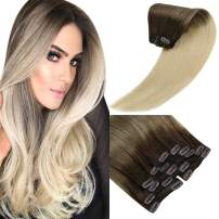 Sunny Brown to Blonde Ombre Clip Hair Extensions Ombre 24 inch Clip in Ombre Hair Extensions Human Hair #3/60 Double Weft Clip in Extensions Ombre 120g
