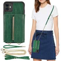 iPhone 11 Crossbody Wallet Case, iPhone 11 Card Holder Case, ZVEdeng iPhone 11 Case with Kickstand Crossbody Bag Bumper Case Protective Cover-Crocodile Skin Dark Green