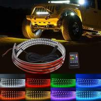 LncBoc LED Under Car Lights Kit 4Pcs, 8 Color Neon Led Lights Car Sync To Music,Wireless Remote Control 5050 Rgb Led Strip Lights Waterproof with Cable Tie & Screw