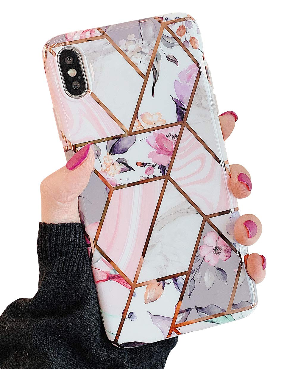 """KERZZIL iPhone Xs/X Flowers Case for Women and Girls, Trendy Shiny Rose Gold Marble and Pink Floral Design with Purple Leaves Phone Case Cover Compatible with iPhone Xs/X 5.8"""" (Pink Flower)"""